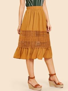 Lace Insert Flounce Hem Skirt