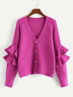 Neon Pink Tiered Bell Sleeve Pearl Buttoned Knit Coat
