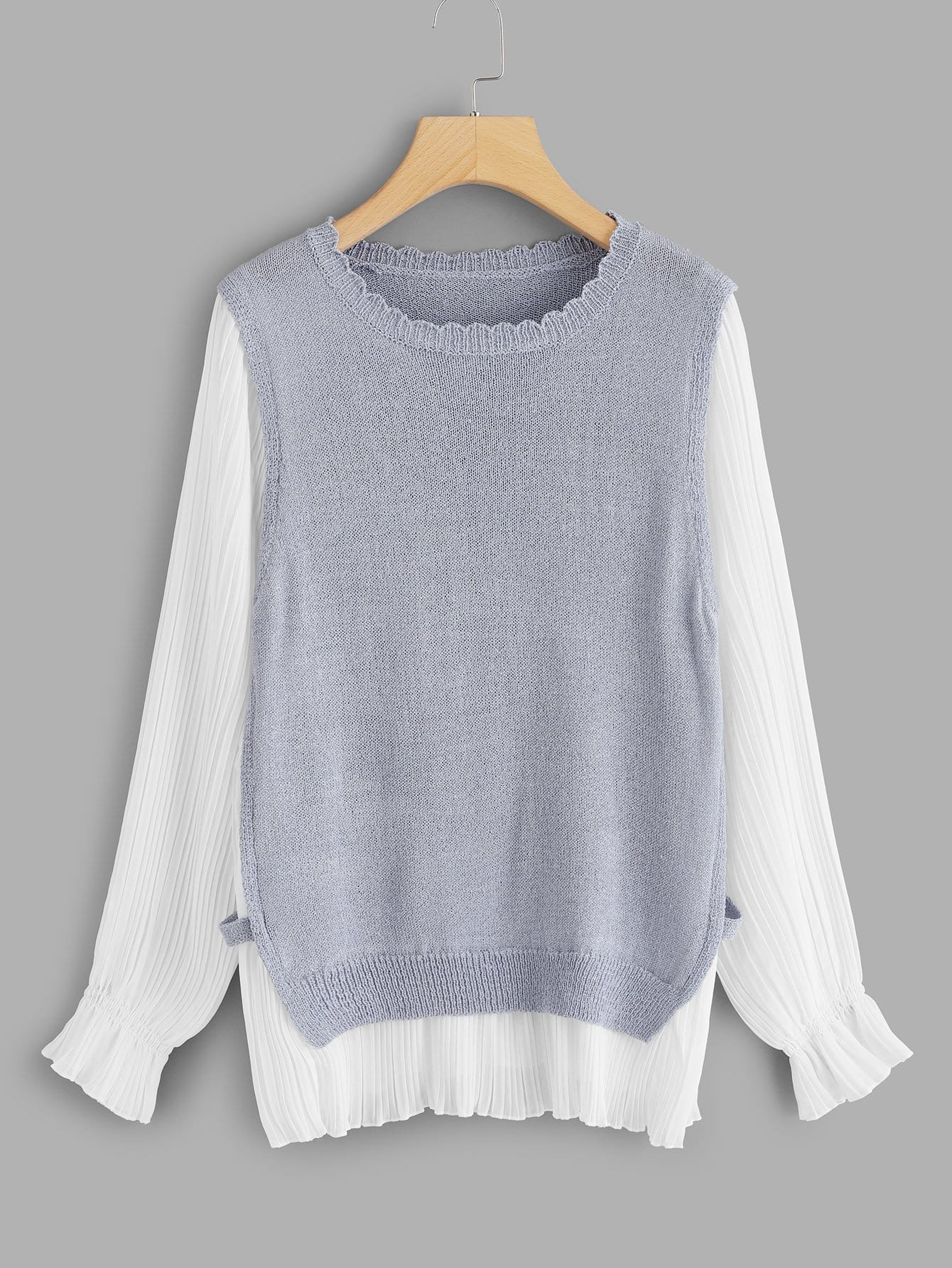 Frill Neck Two Tone 2 In 1 Sweater