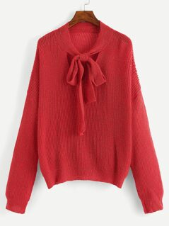 Bow Tied Neck Glitter Sweater