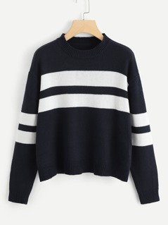 Two Tone Drop Shoulder Sweater