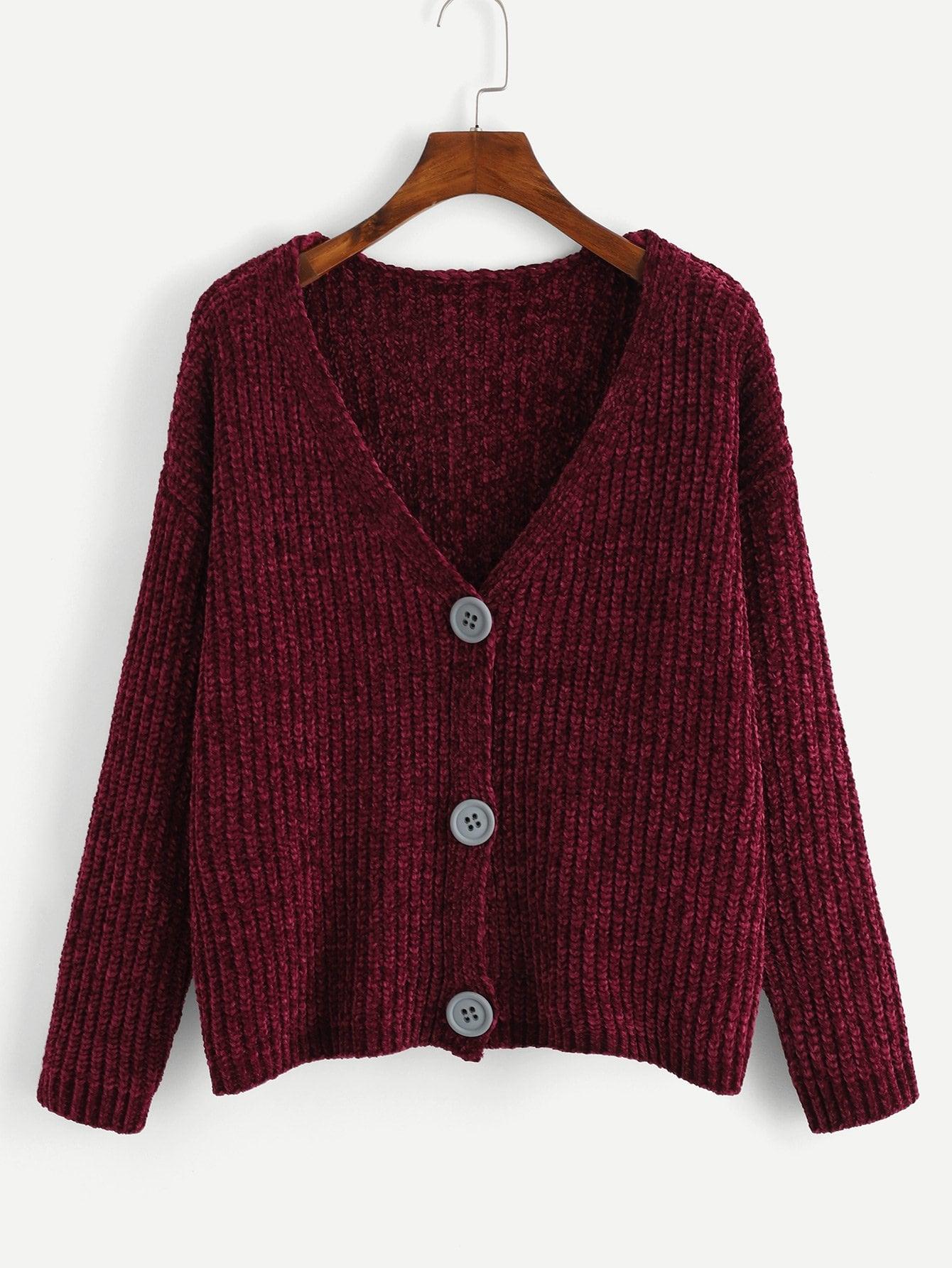 Купить V Шея Кнопка вверх фронт вязать свитер, null, SheIn