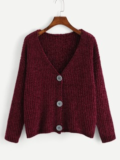 V Neck Button Up Front Knit Sweater