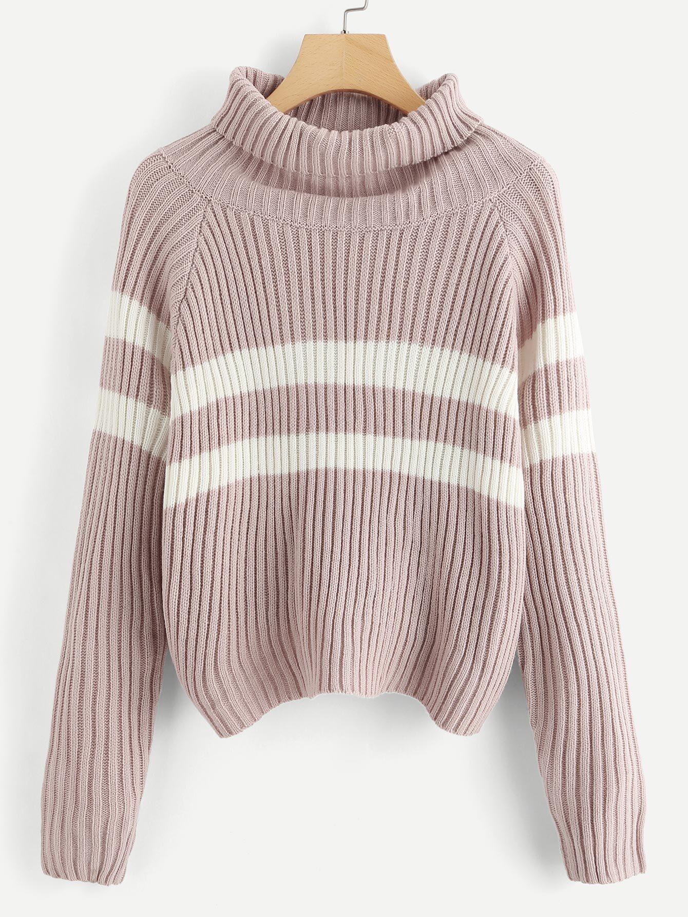 Купить Raglan Sleeve Пропеченная шея Полосатый свитер, null, SheIn
