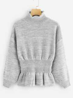 Drop Shoulder Marled Peplum Sweater