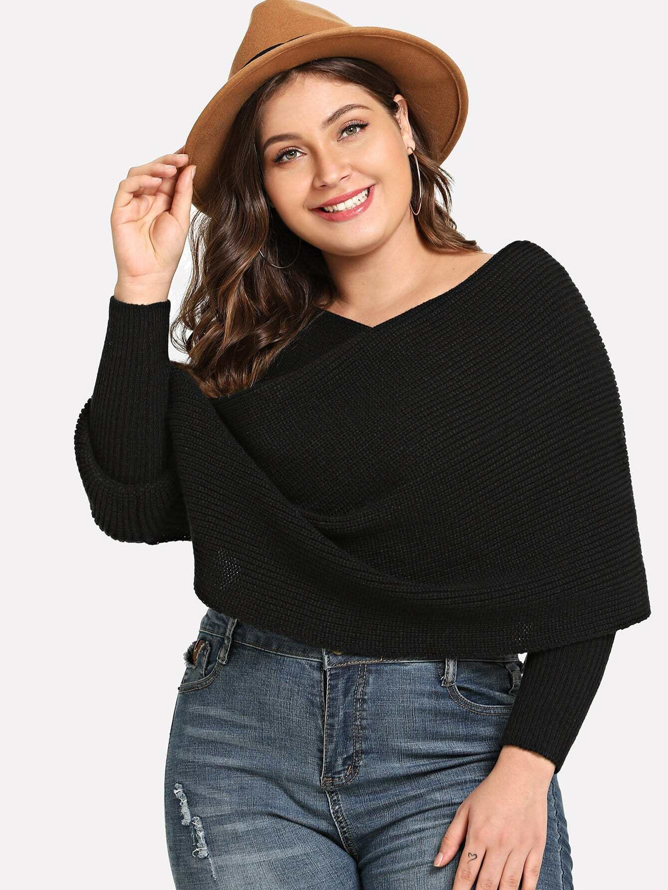 Plus Surplice Neck Solid Cape Jumper