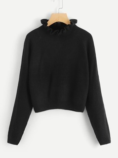 Frilled Neck Solid Crop Jumper