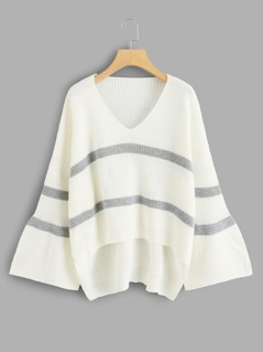 Flounce Sleeve Striped Dip Hem Sweater