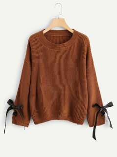 Bow Tied Cuff Solid Sweater