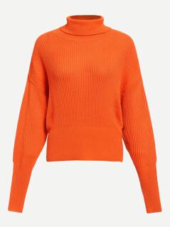 Neon Orange High Neck Gigot Sleeve Jumper