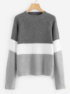 Color Block Raglan Sleeve Jumper