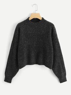 Drop Shoulder Flecked Crop Sweater