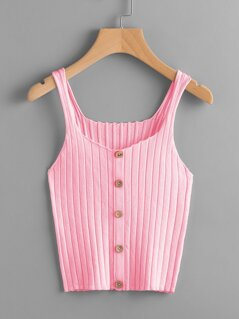 Button Detail Ribbed Knit Cami Top