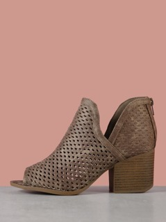 Faux Leather Peep Toe Perforated Booties