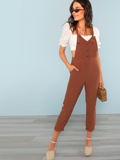 Button Front Knotted Strap Pinafore Jumpsuit