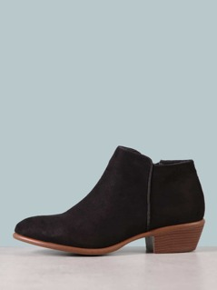 Faux Suede Almond Toe Booties