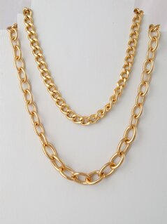 Double Gold Chain Link Necklaces