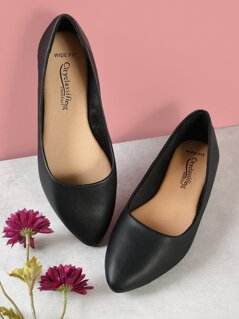 Wide Fit Faux Leather Pointed Flats