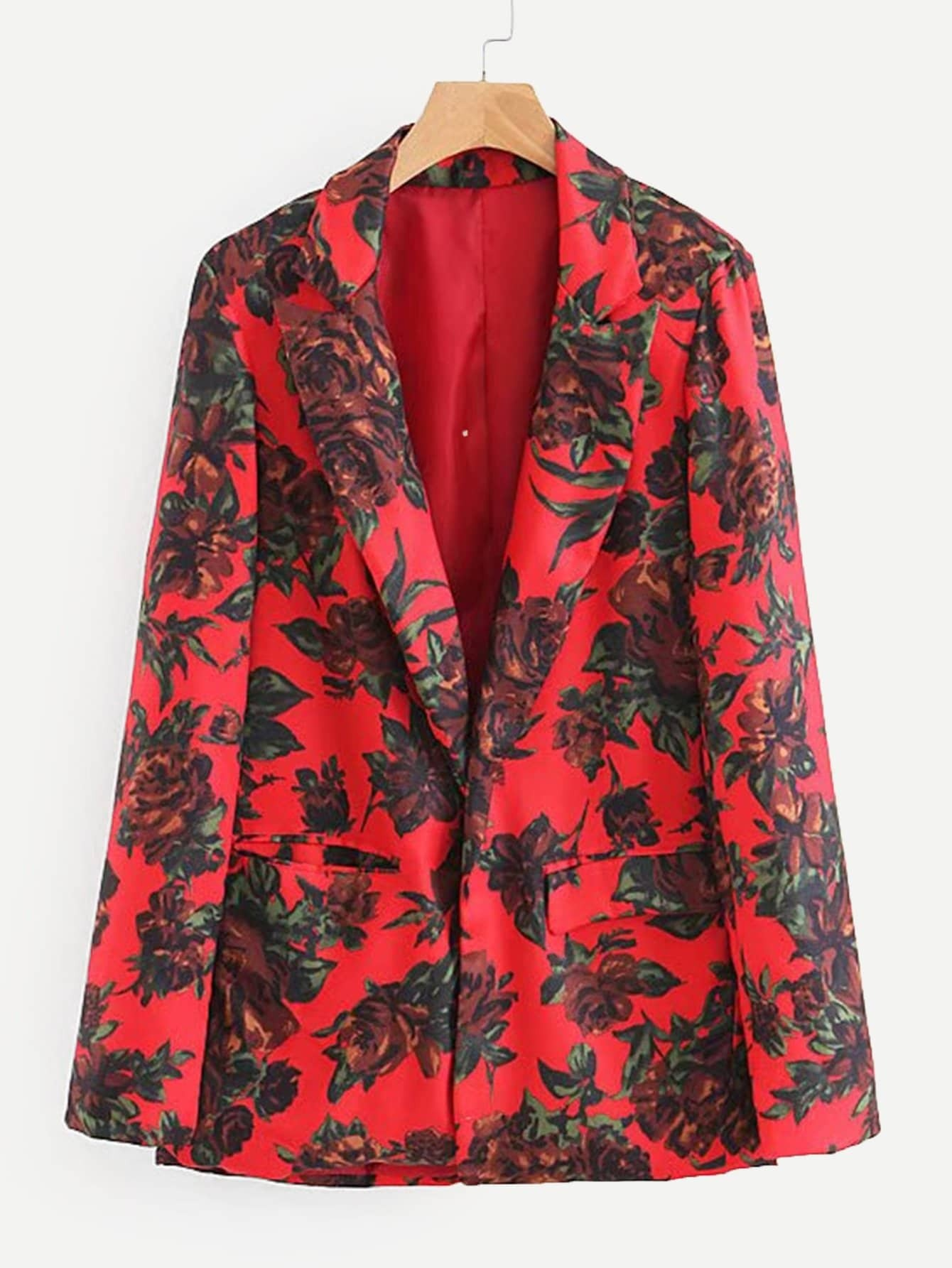 Купить Повседневный Со цветочками Карман Красный Пиджаки, null, SheIn