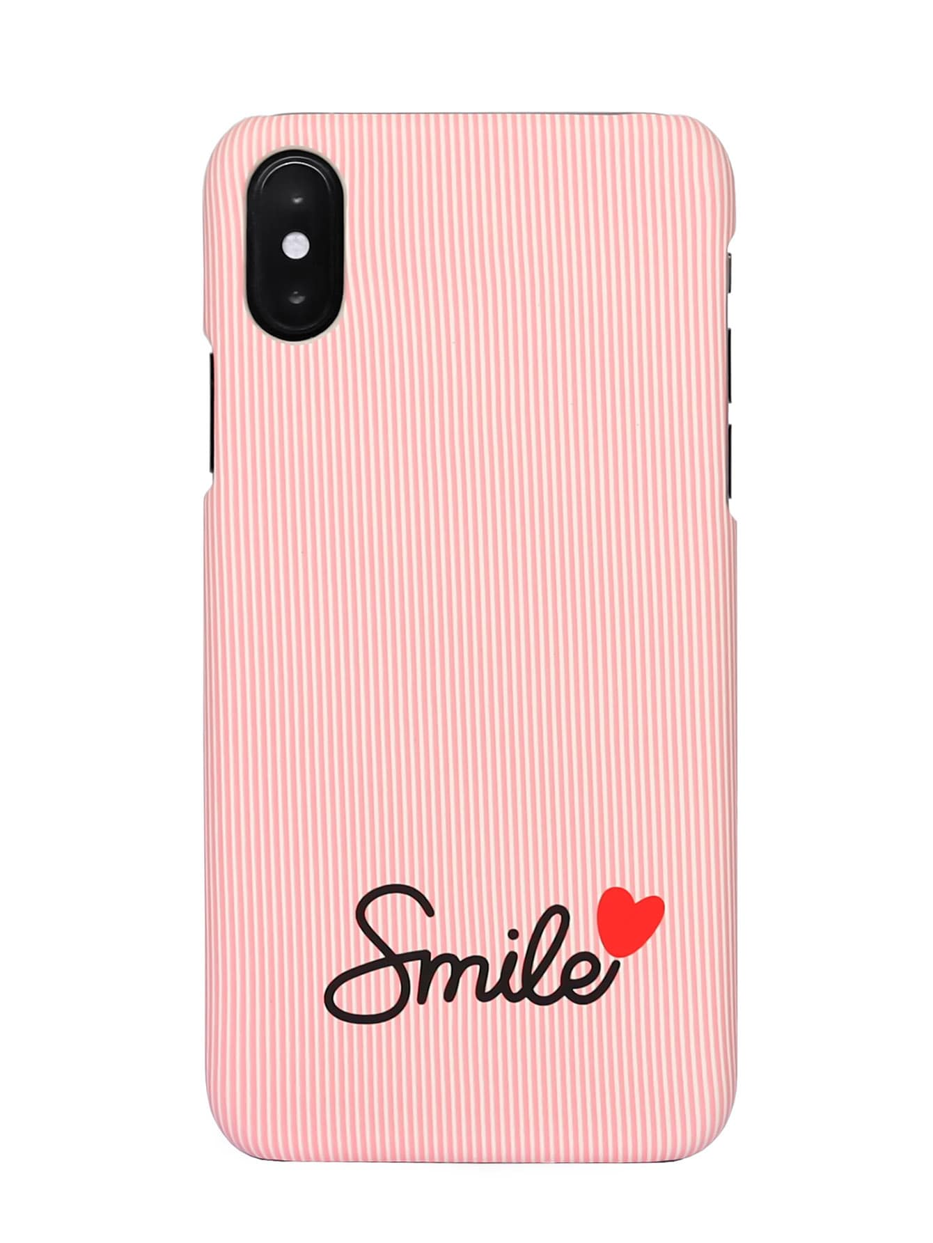 Letter Print Striped iPhone Case