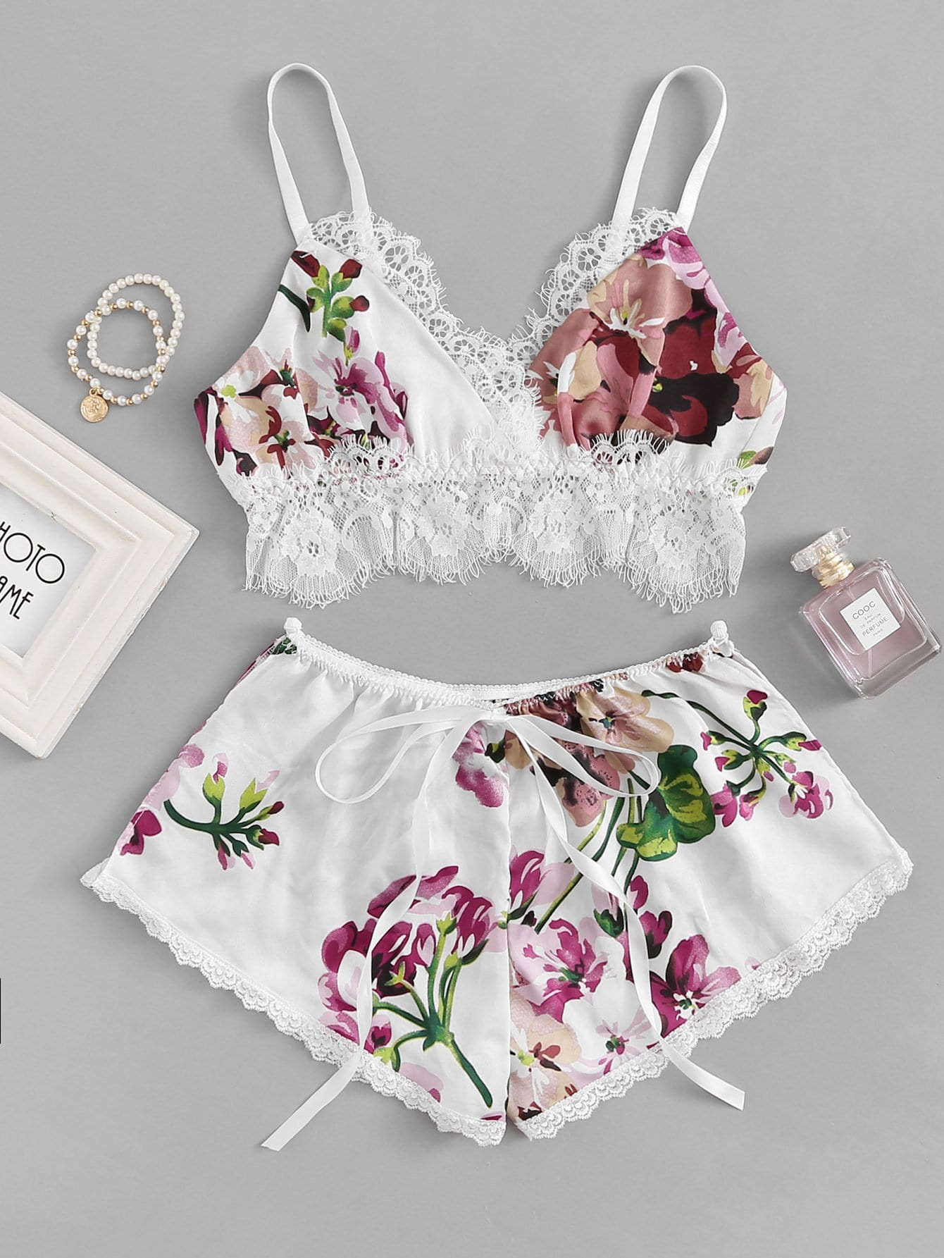 Contrast Lace Floral Cami Top & Shorts