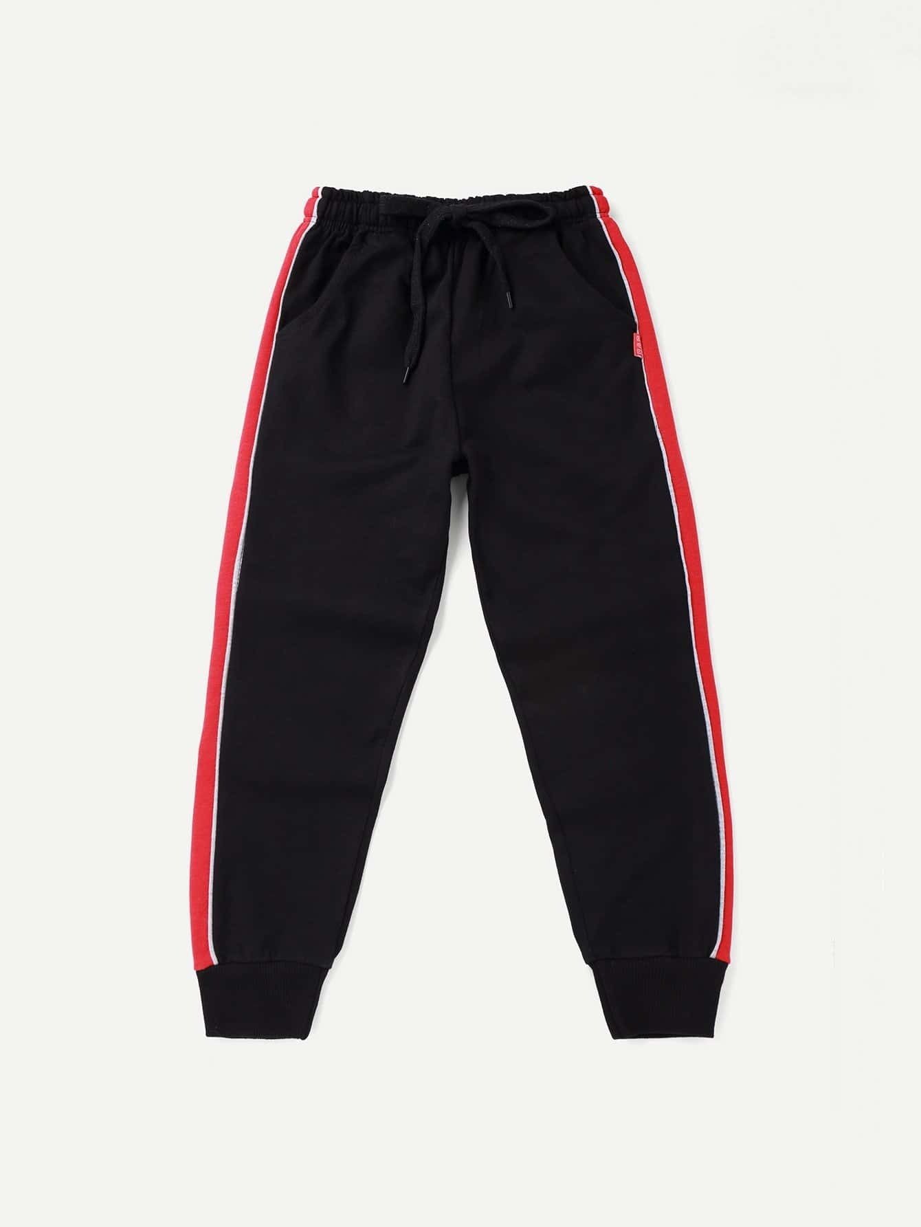 Boys Contrast Tape Side Pants