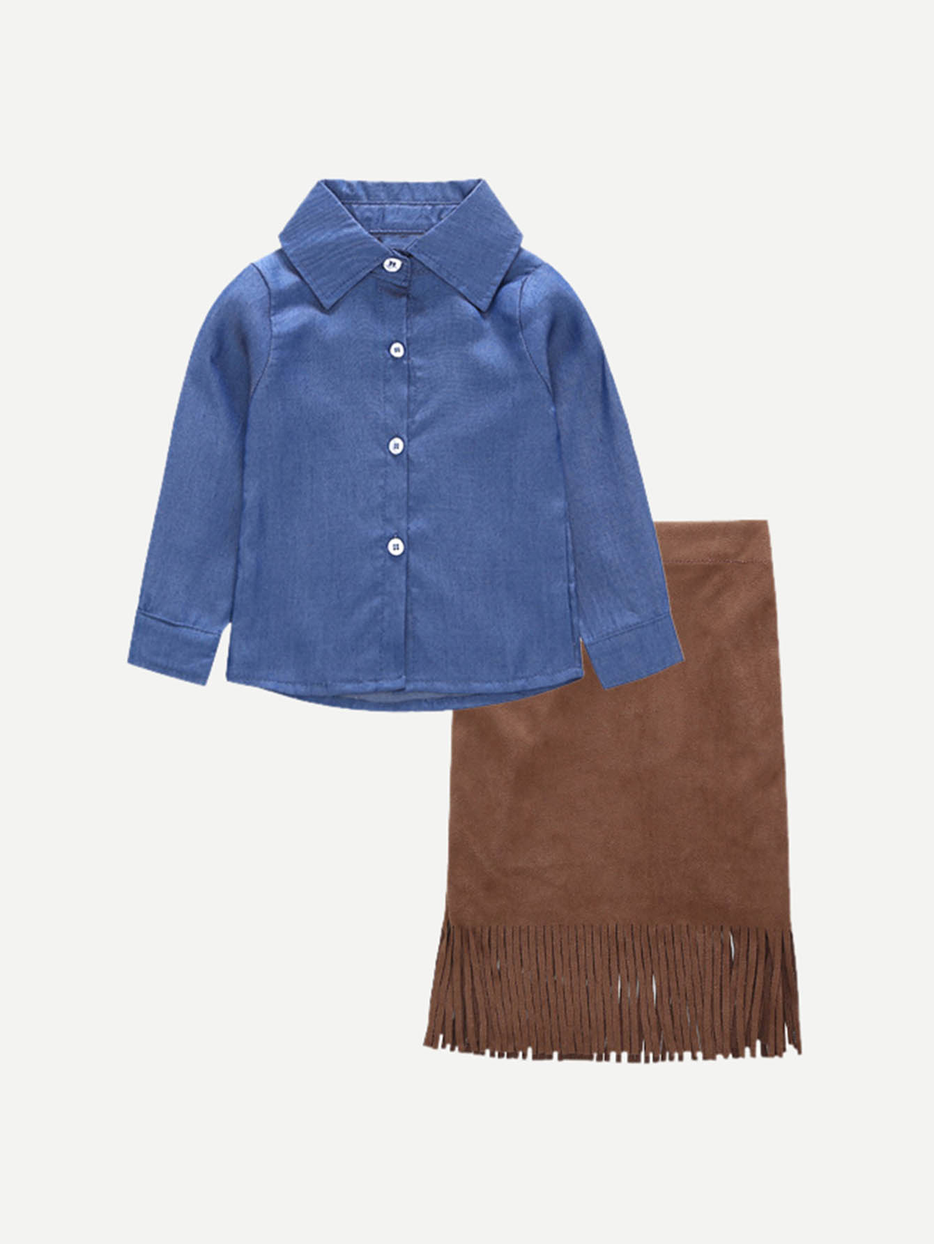 Girls Solid Blouse With Fringe Hem Skirt bioline jato крем маска для контура глаз bioline jato daily ritual balance drp11050 50 мл