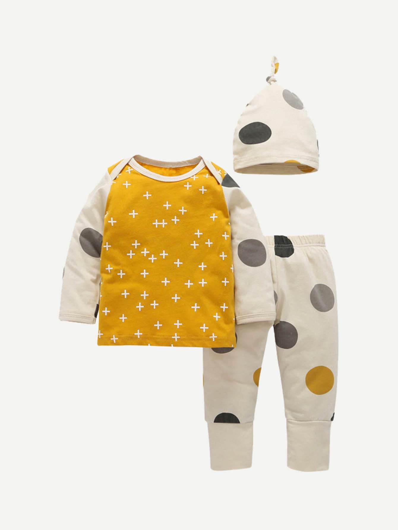 Купить Повседневный стиль Геометрическое тело Желтый Комплекты для девочек, null, SheIn