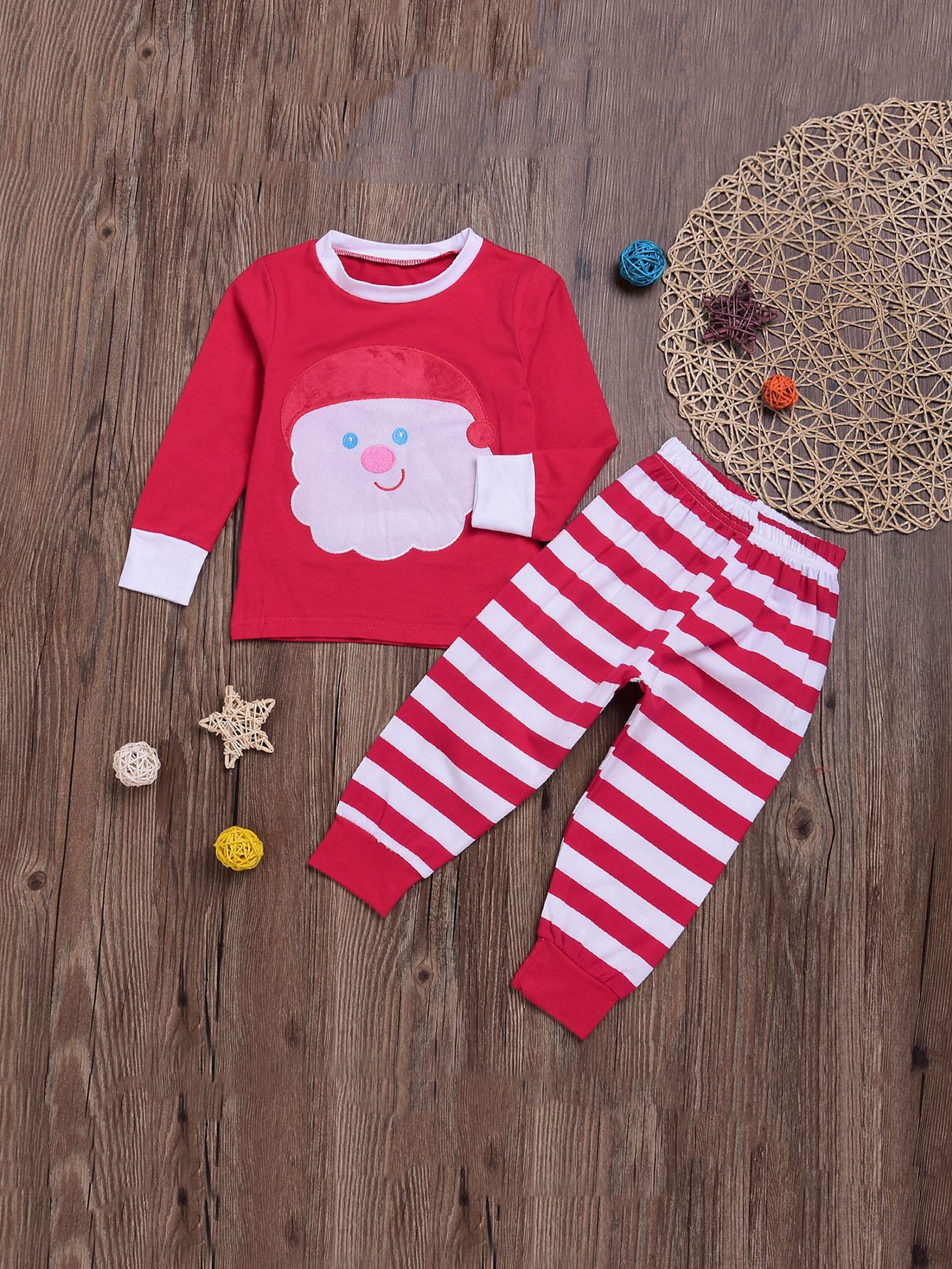 Girls Christmas Print Top With Pants