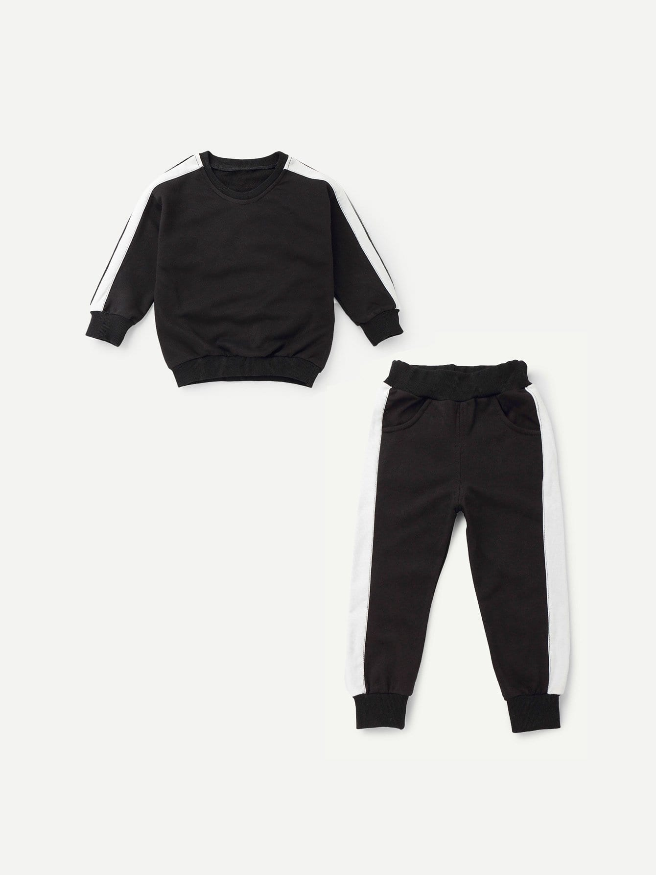 Boys Contrast Tape Side Top With Pants