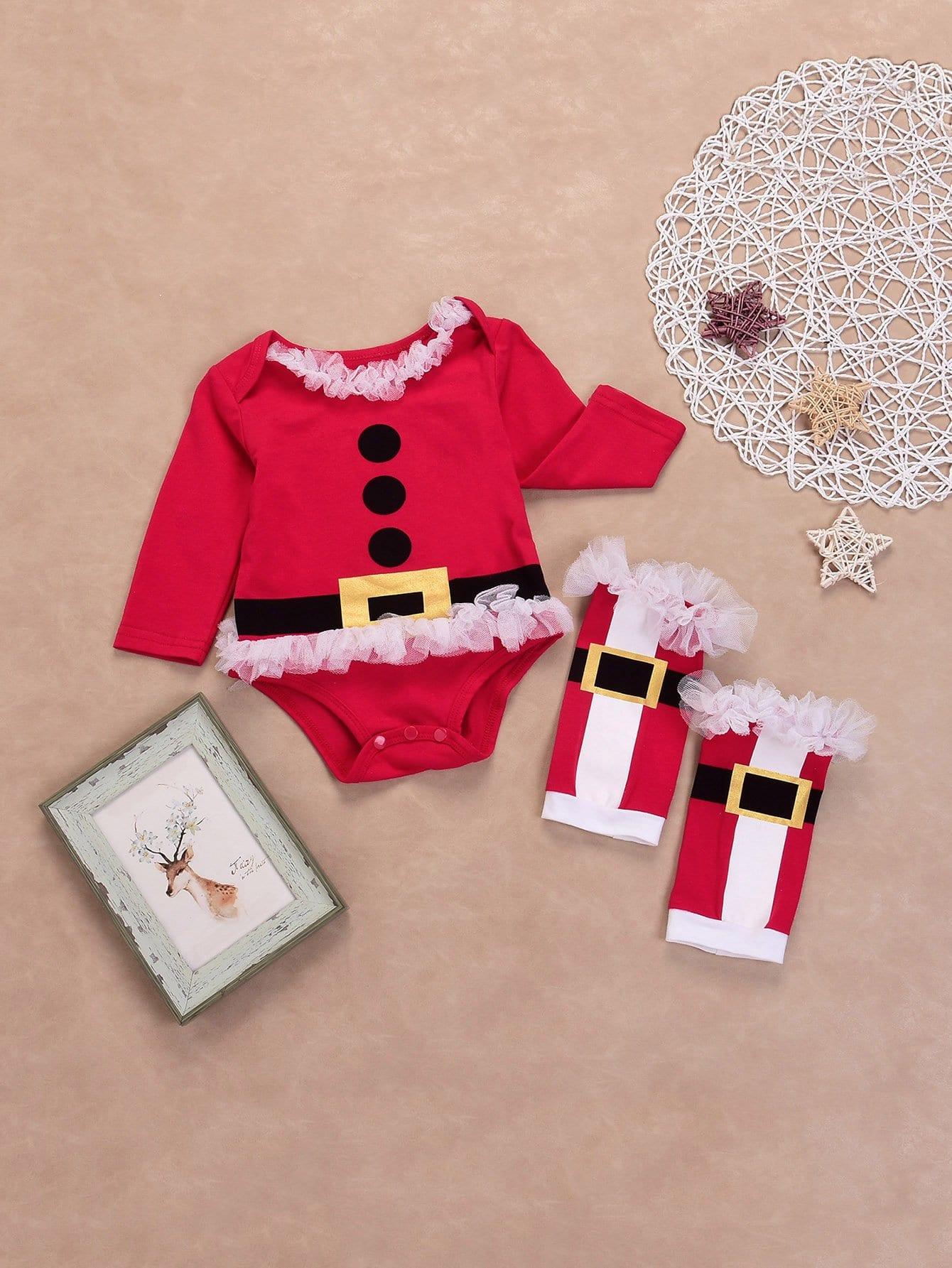 Купить Повседневный Рождество Оборка футболка Красный Комбинезоны для девочек, null, SheIn