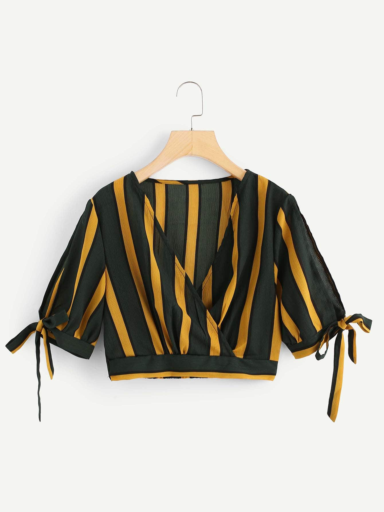 V-Neckline Knot Sleeve Striped Crop Top