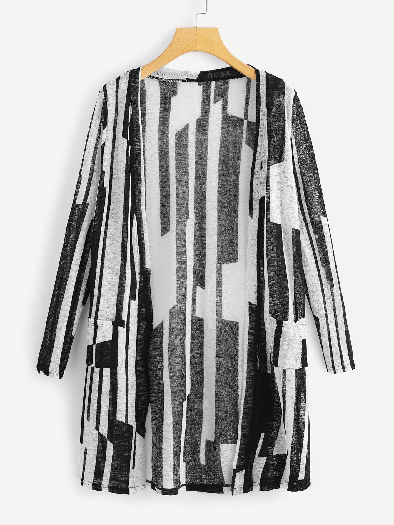 Mantel mit Tasche und Streifen