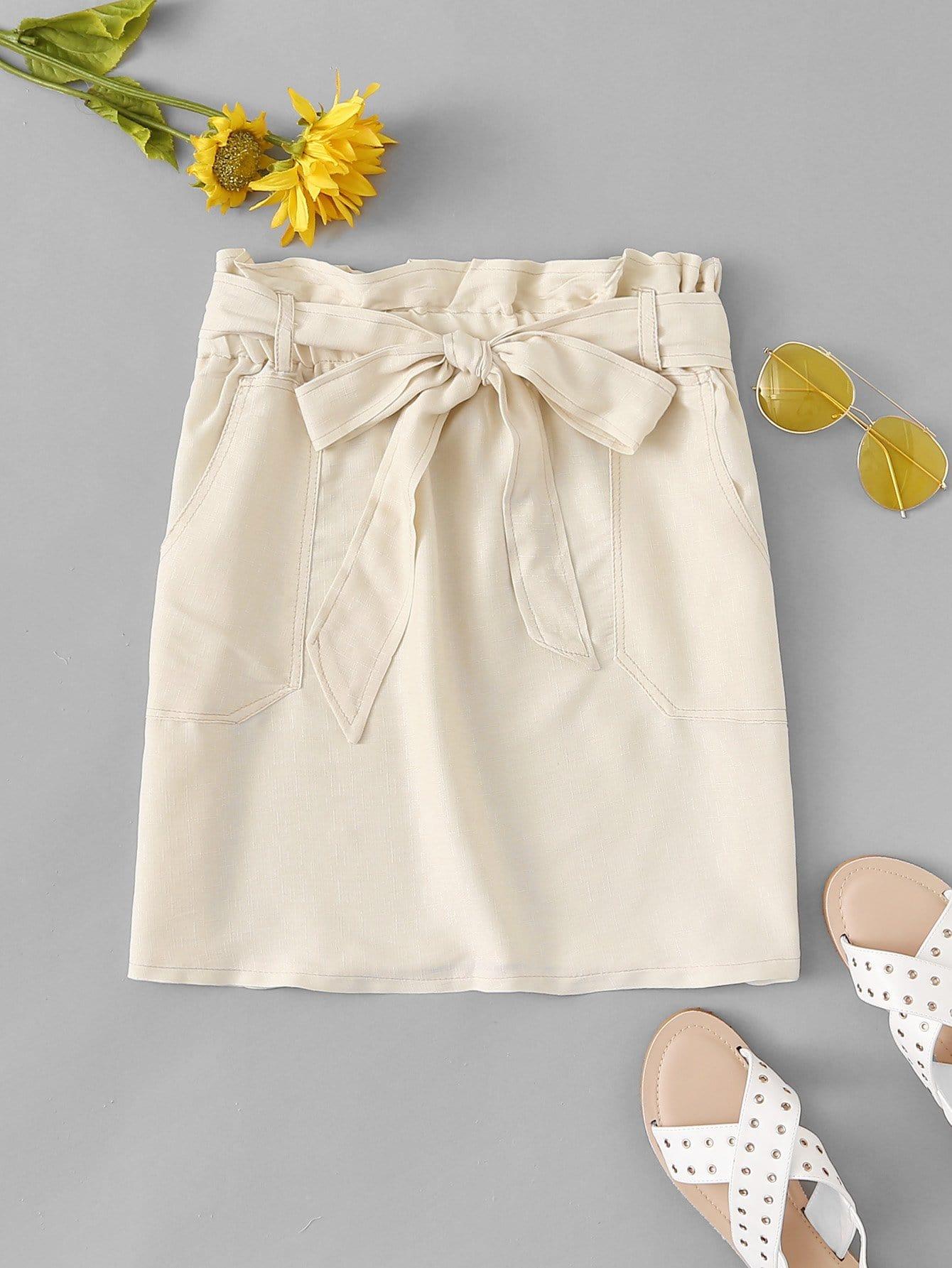 Tie Waist Pocket Detail Solid Skirt