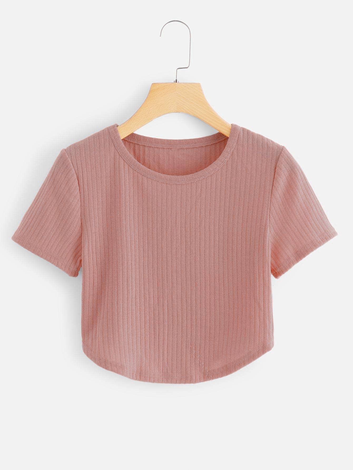 Solid Ribbed Knit Crop Tee