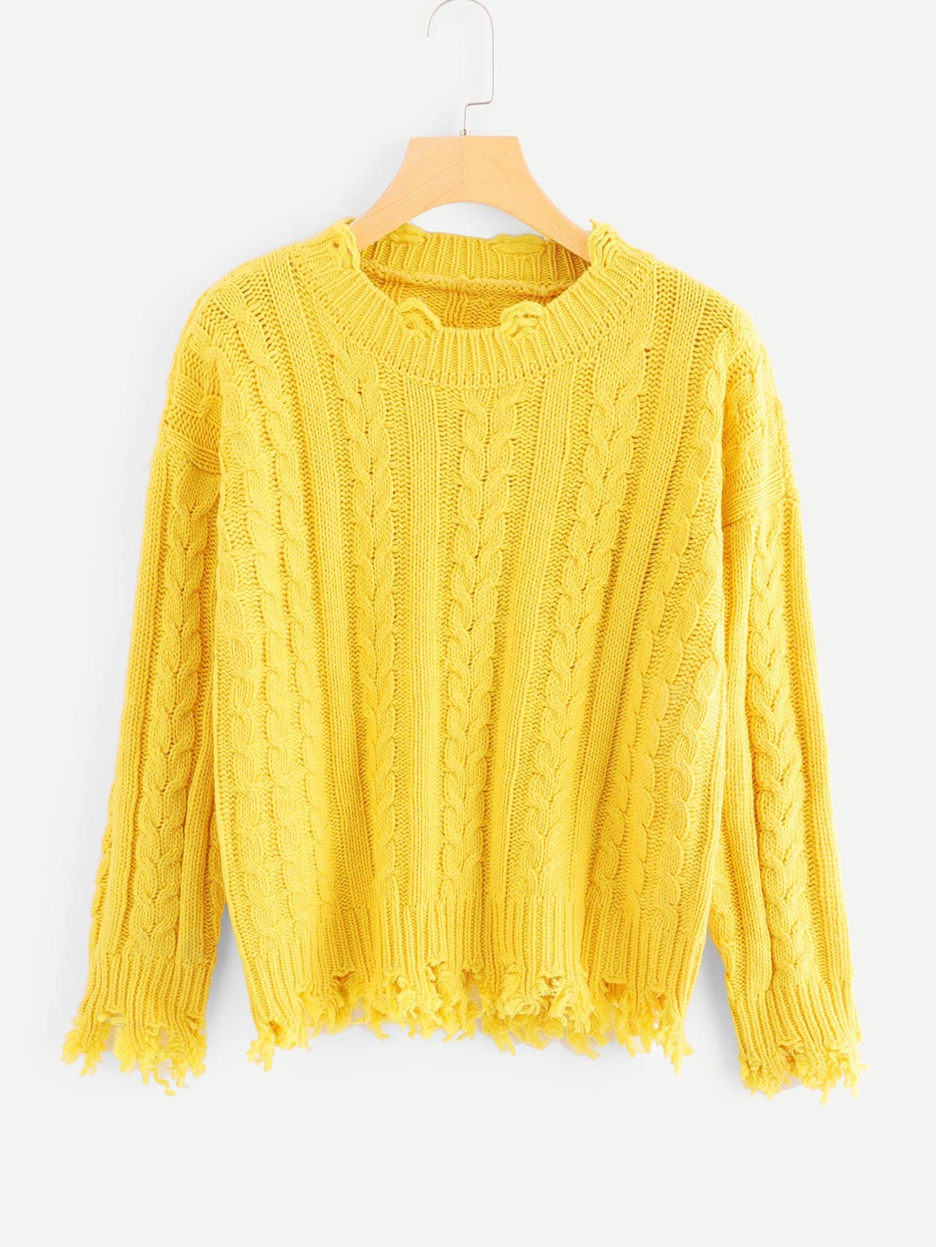 Ripped Cable Knit Jumper