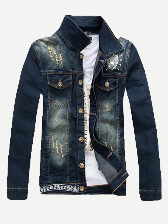 Мужчины Вышивка Уничтожено Джинсовые Куртки