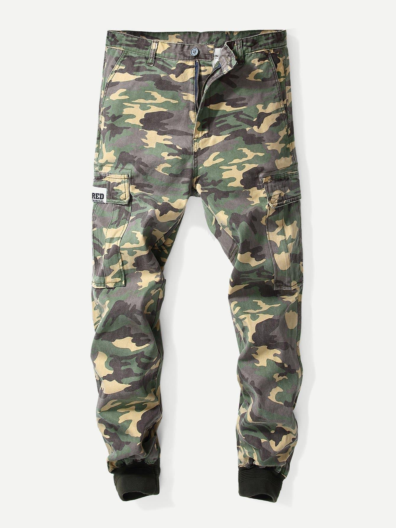 Men Pocket Decoration Camo Pants