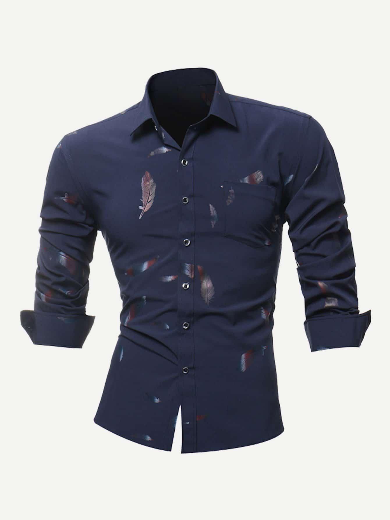 Купить С перьями Темно синий Мужские рубашки, null, SheIn