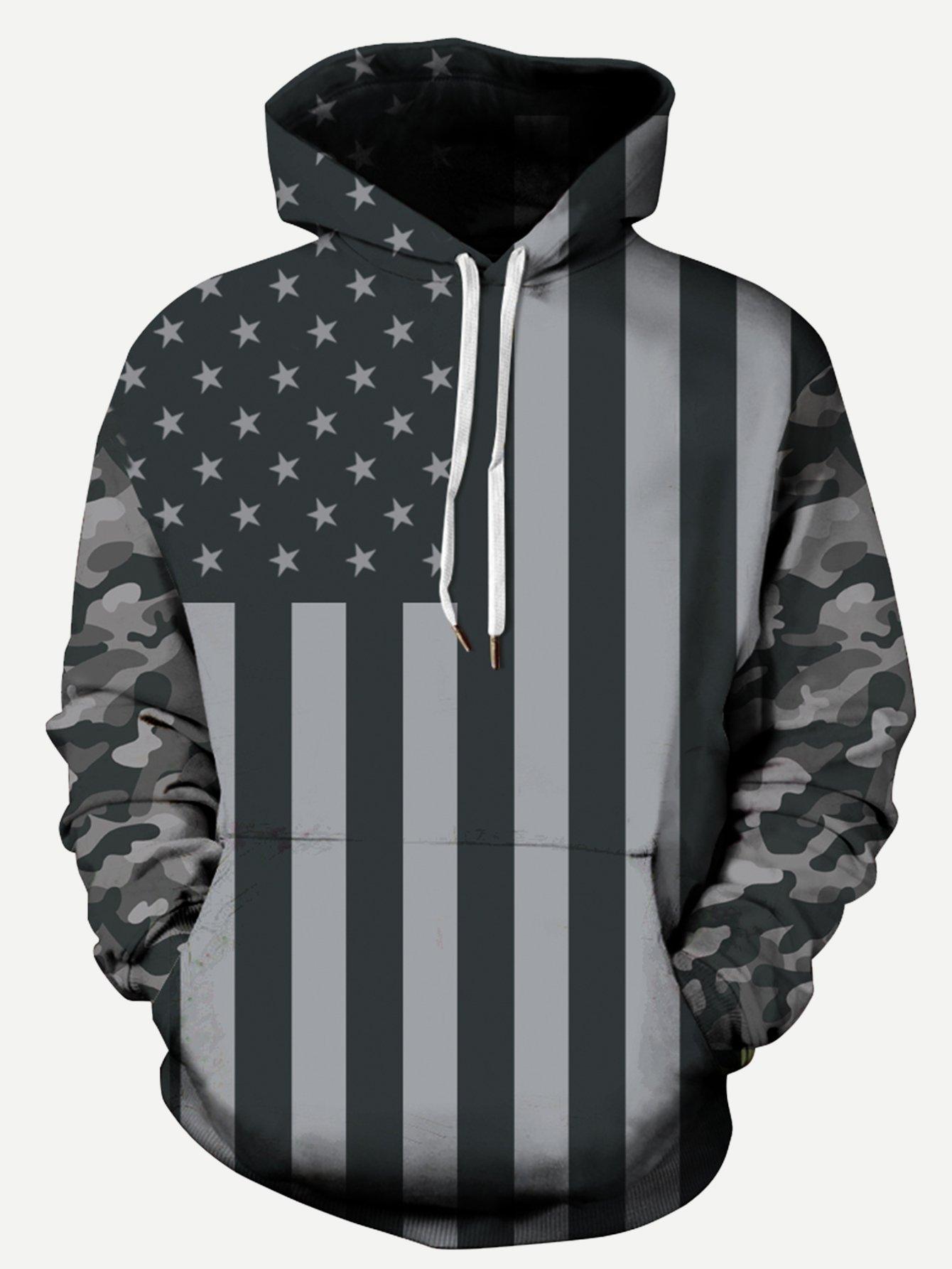 Männer Sweatshirt mit Amerikanische Flagge Muster