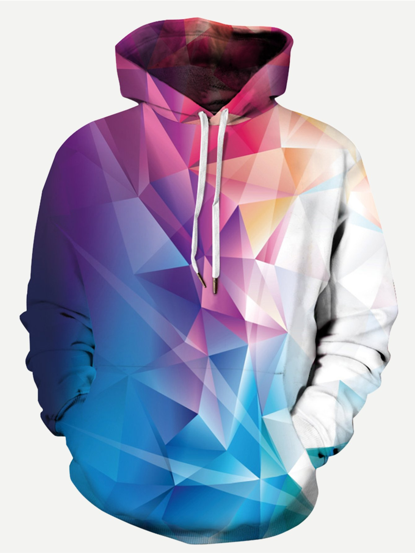 Men Abstract Geo Print Hooded Sweatshirt