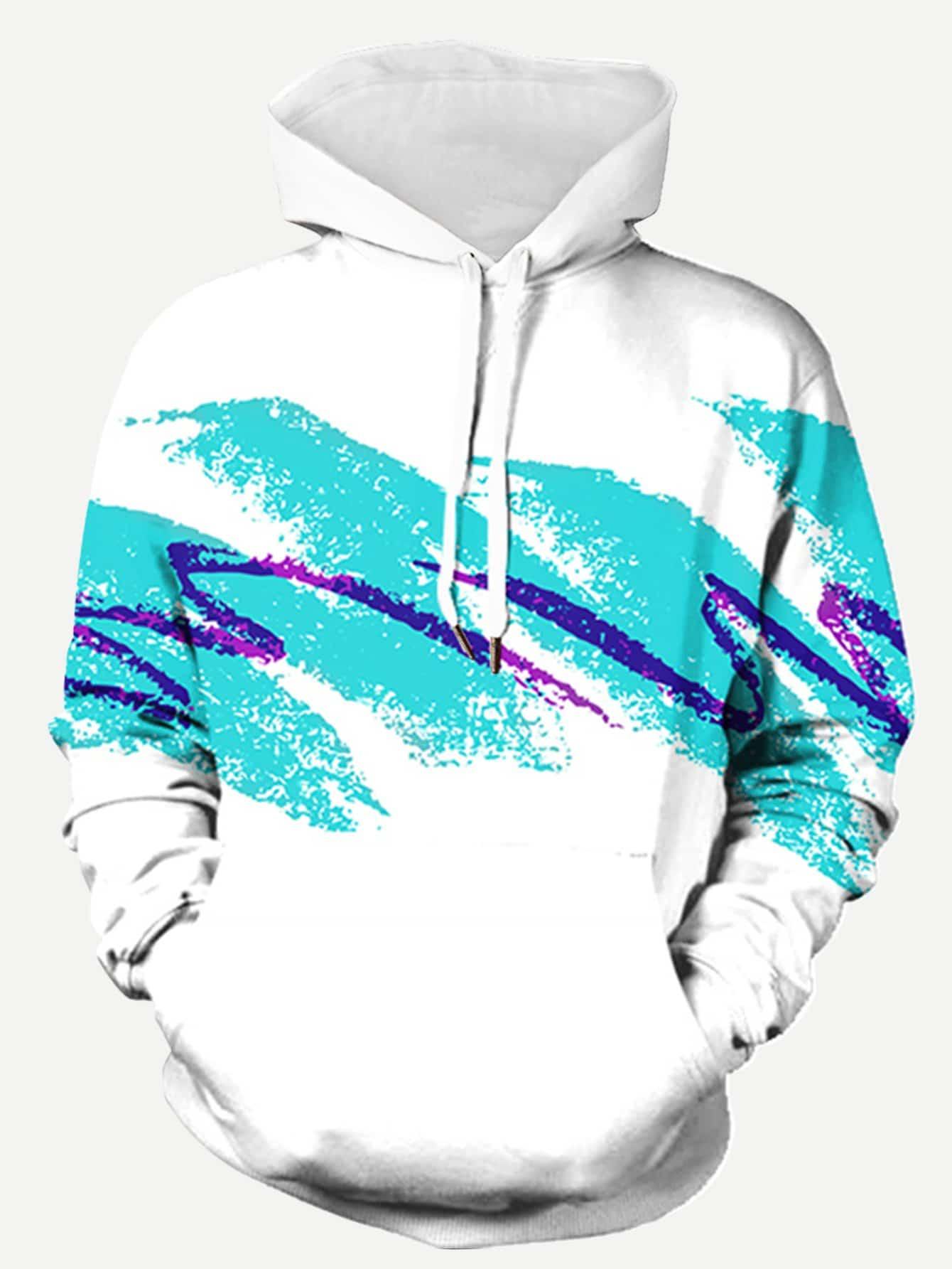 Männer Sweatshirt mit Pinselstriche Muster