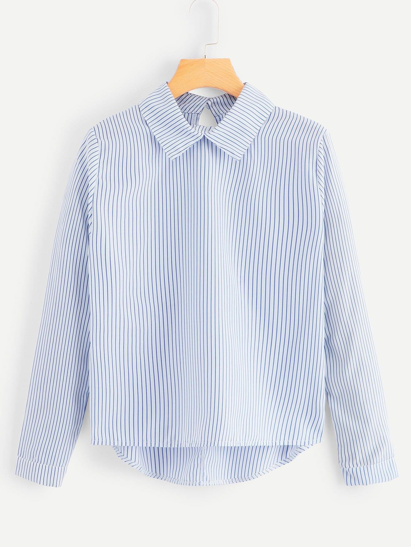Купить Повседневный Полосатый Асимметричный Многоцветный Блузы+рубашки, null, SheIn