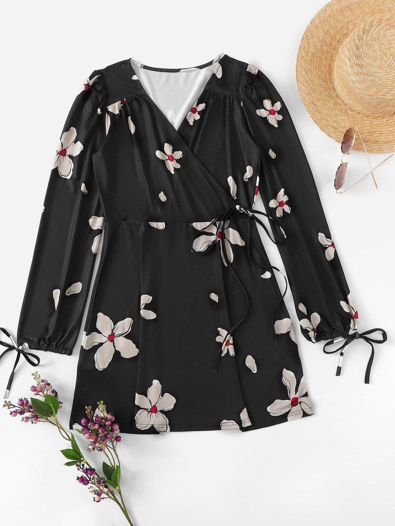 Floral Print Drawstring Sleeve Knot Waist Dress