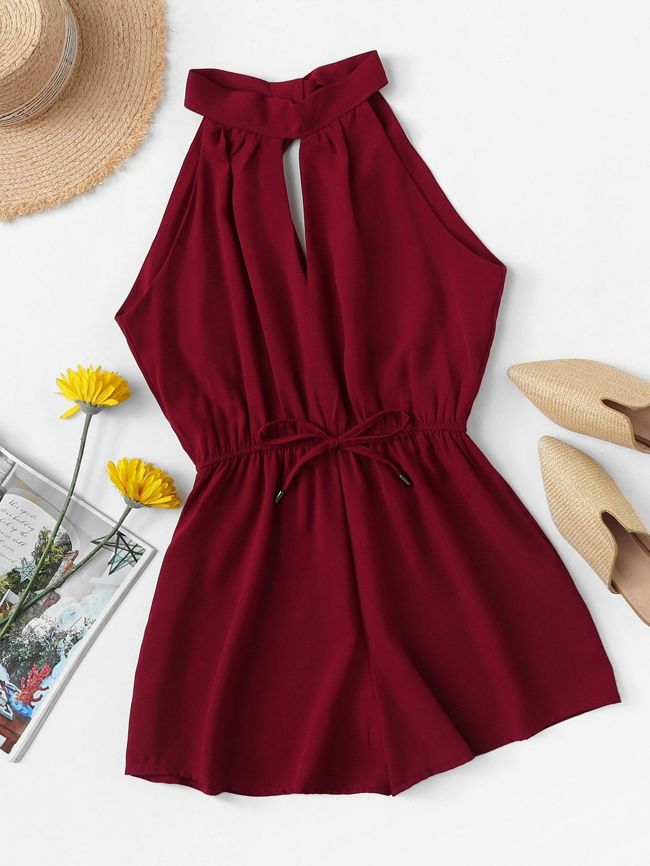 Drawstring Waist Knot Back Jumpsuit