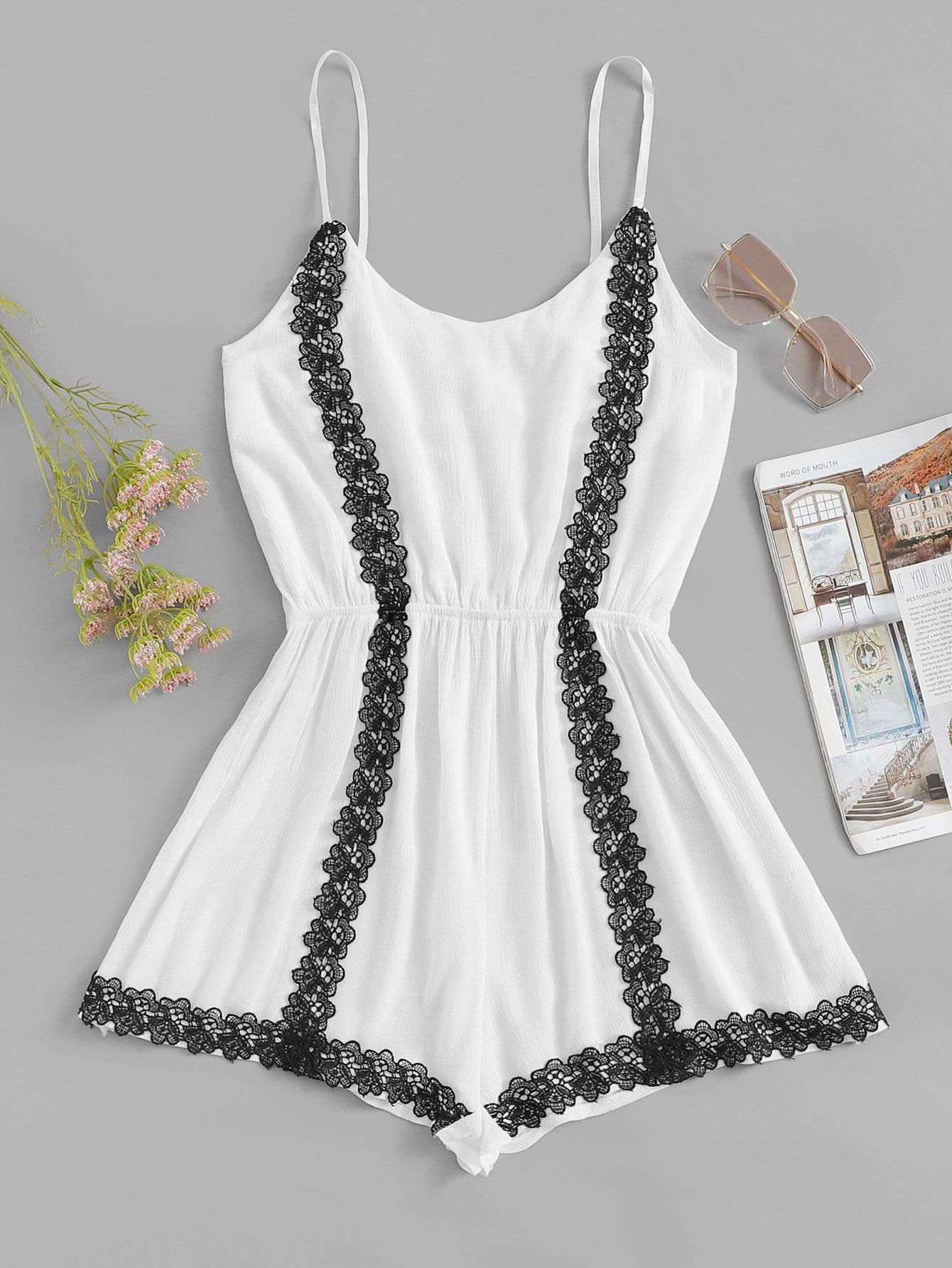 Contrast Lace Cami Jumpsuit