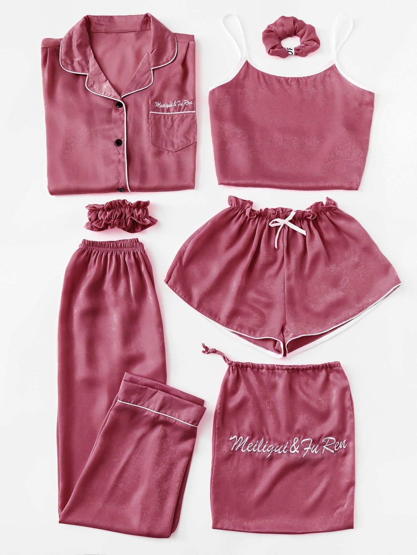 7pcs Cami Pajama Set mit Buchstaben Stickereien und Bluse