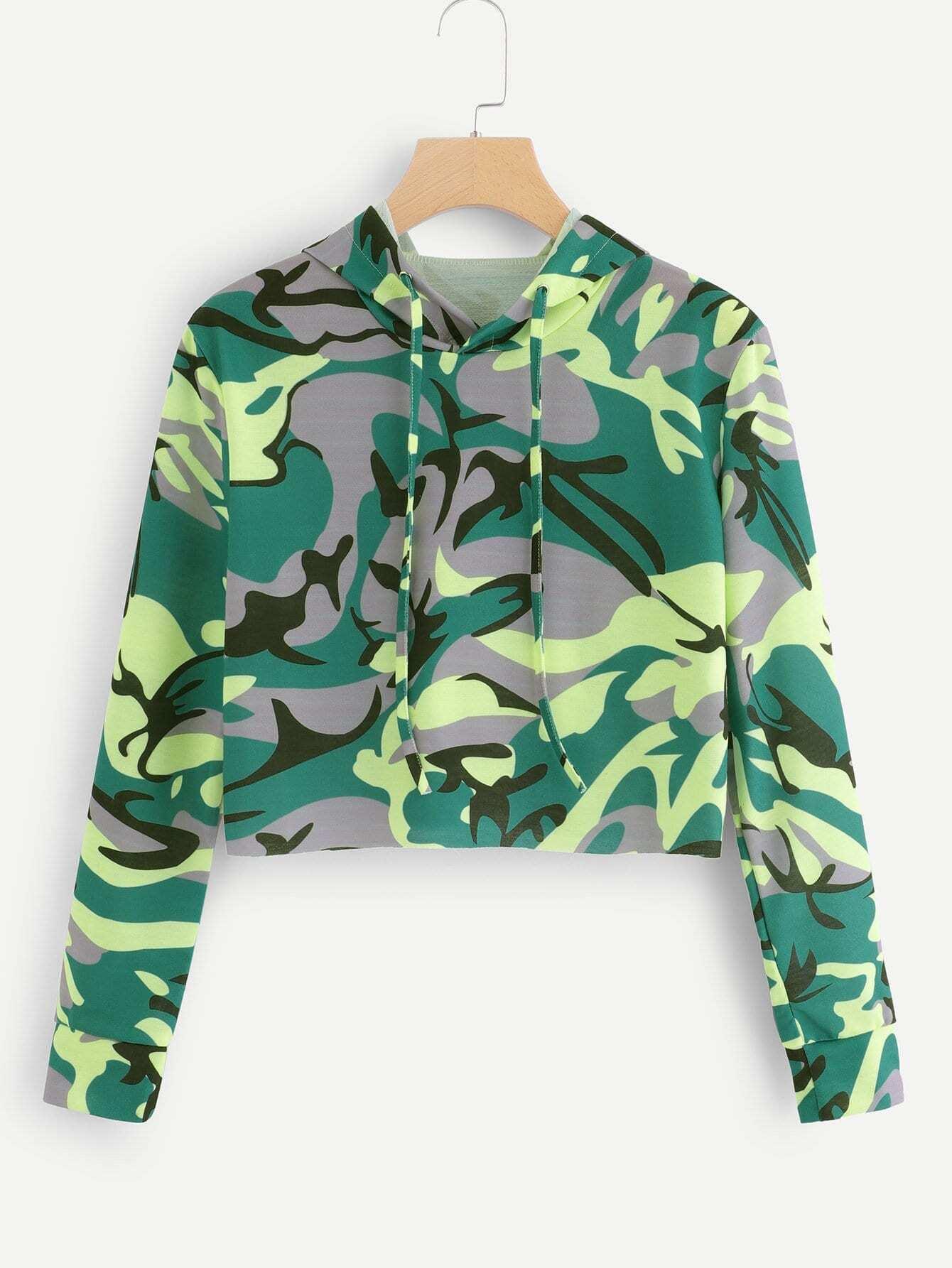 Повседневный Камуфляж на кулиске Пуловеры Многоцветный Свитшоты