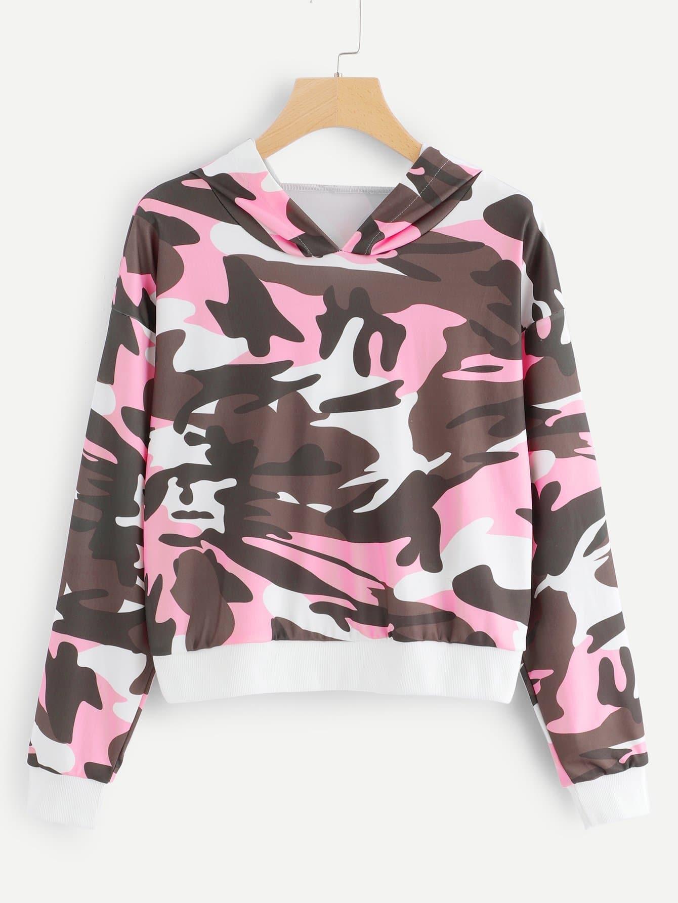 Повседневный Камуфляж Пуловеры Многоцветный Свитшоты