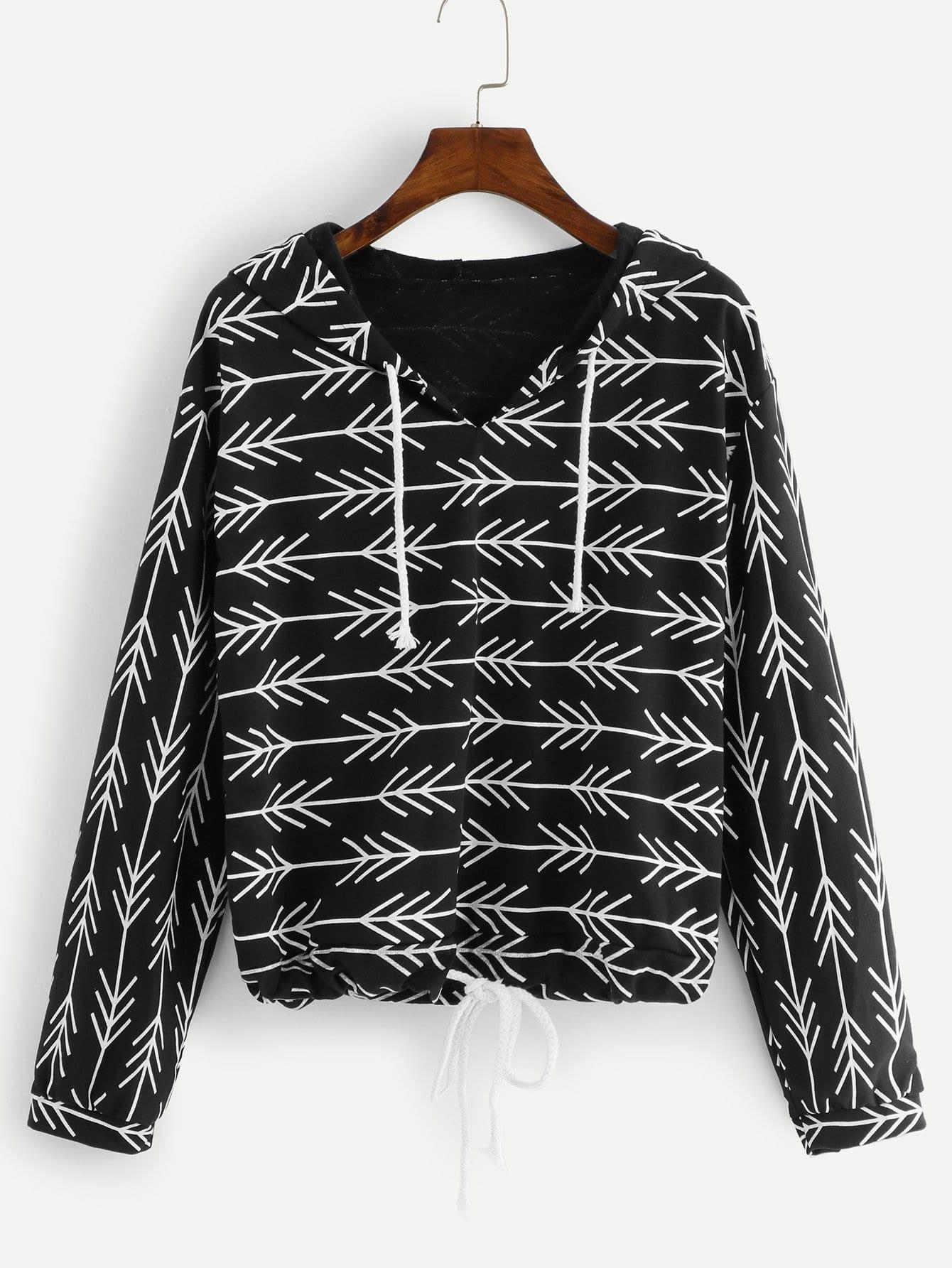 Купить Повседневный на кулиске Пуловеры Черный Свитшоты, null, SheIn